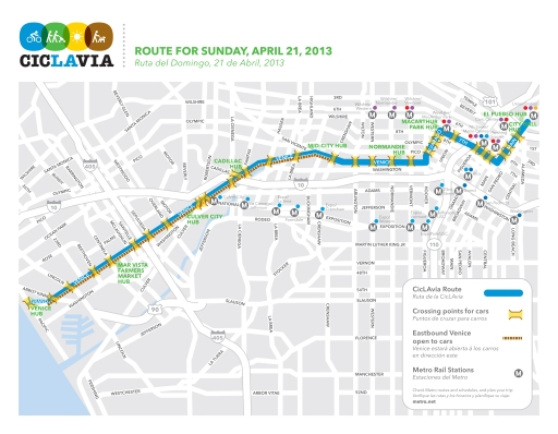 The CicLAvia route April 21, 2013 goes between Union Station, Downtown LA, to the sea at Venice.